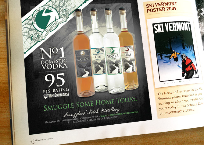 Print Advertising for Smugglers' Notch Distillery