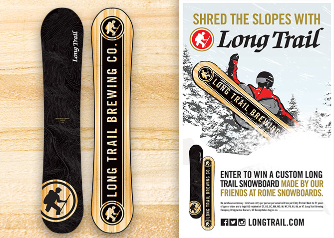 Promotional Snowboard and Poster for Long Trail Brewing Co.