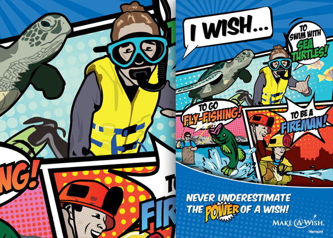 Advertising and Custom Illustration for Make-A-Wish Vermont