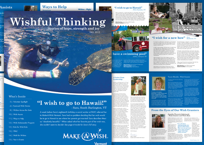 Annual Newsletter for Make-A-Wish Vermont