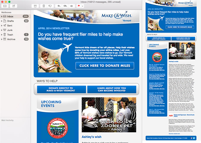 Email Marketing for Make-A-Wish Vermont