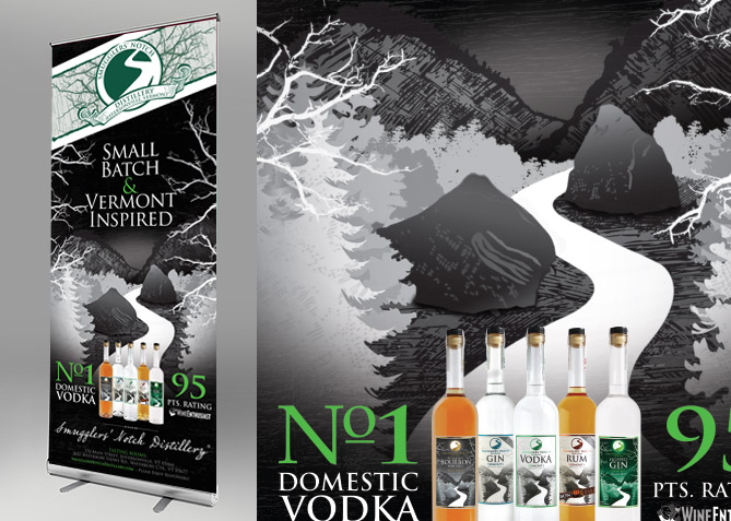 Environemtnal Branding for Smugglers' Notch Distillery