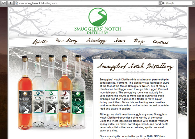 Website Design, Website Development for Smugglers' Notch Distillery
