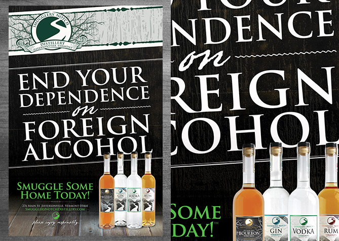 Advertising for Smugglers' Notch Distillery