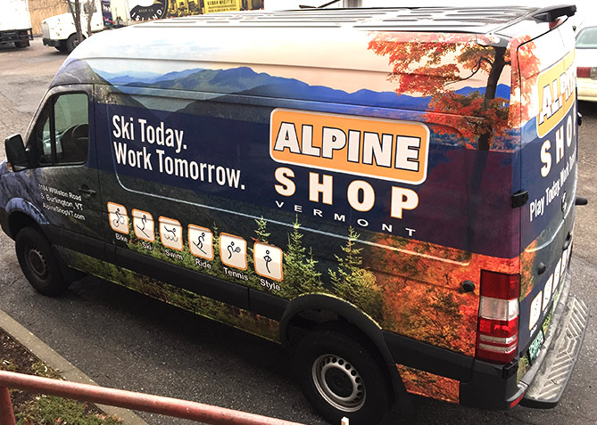 Vehicle Wrap Design for Alpine Shop