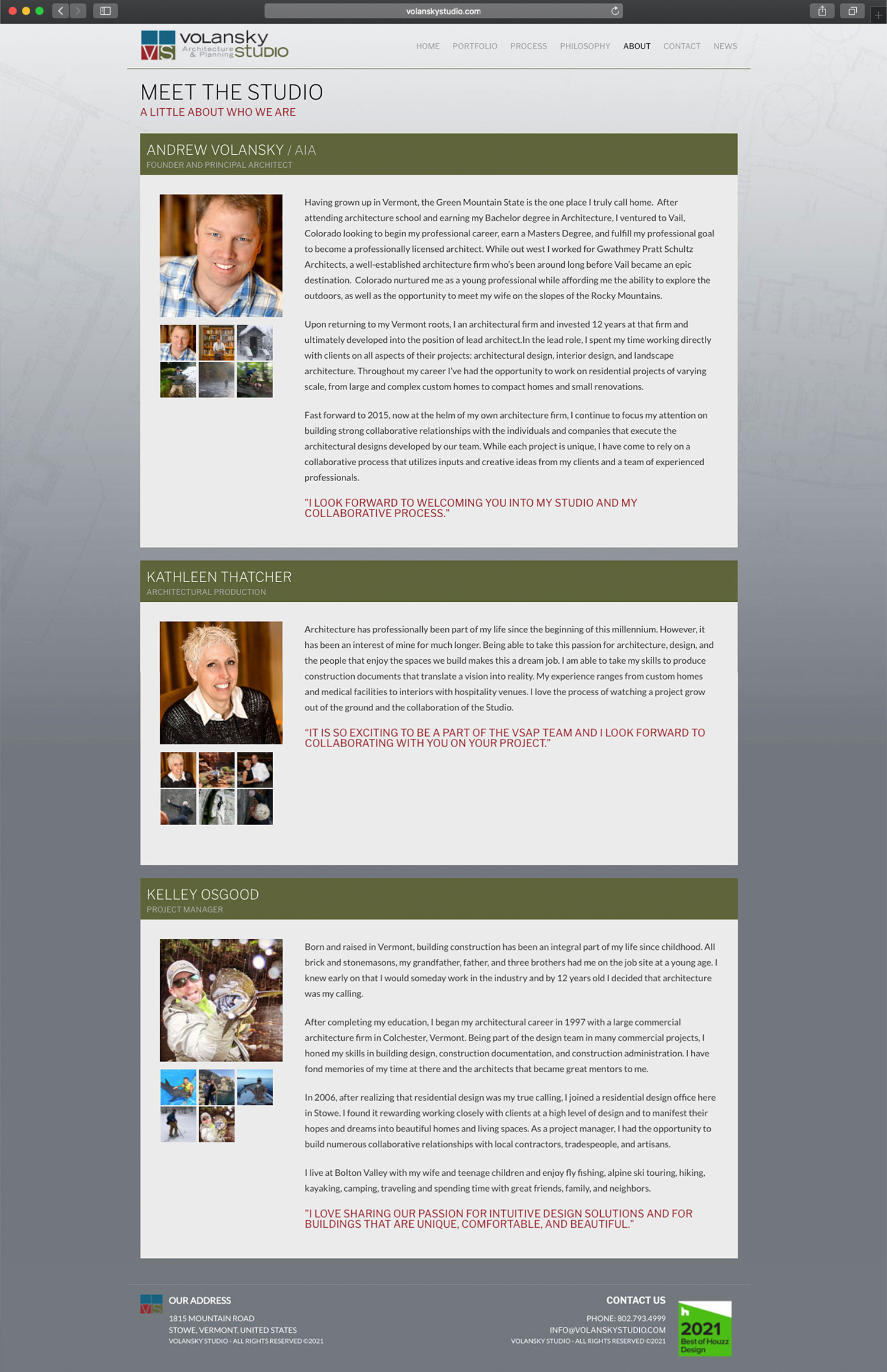 Website design and website development for Volansky Studio - secondary page view.