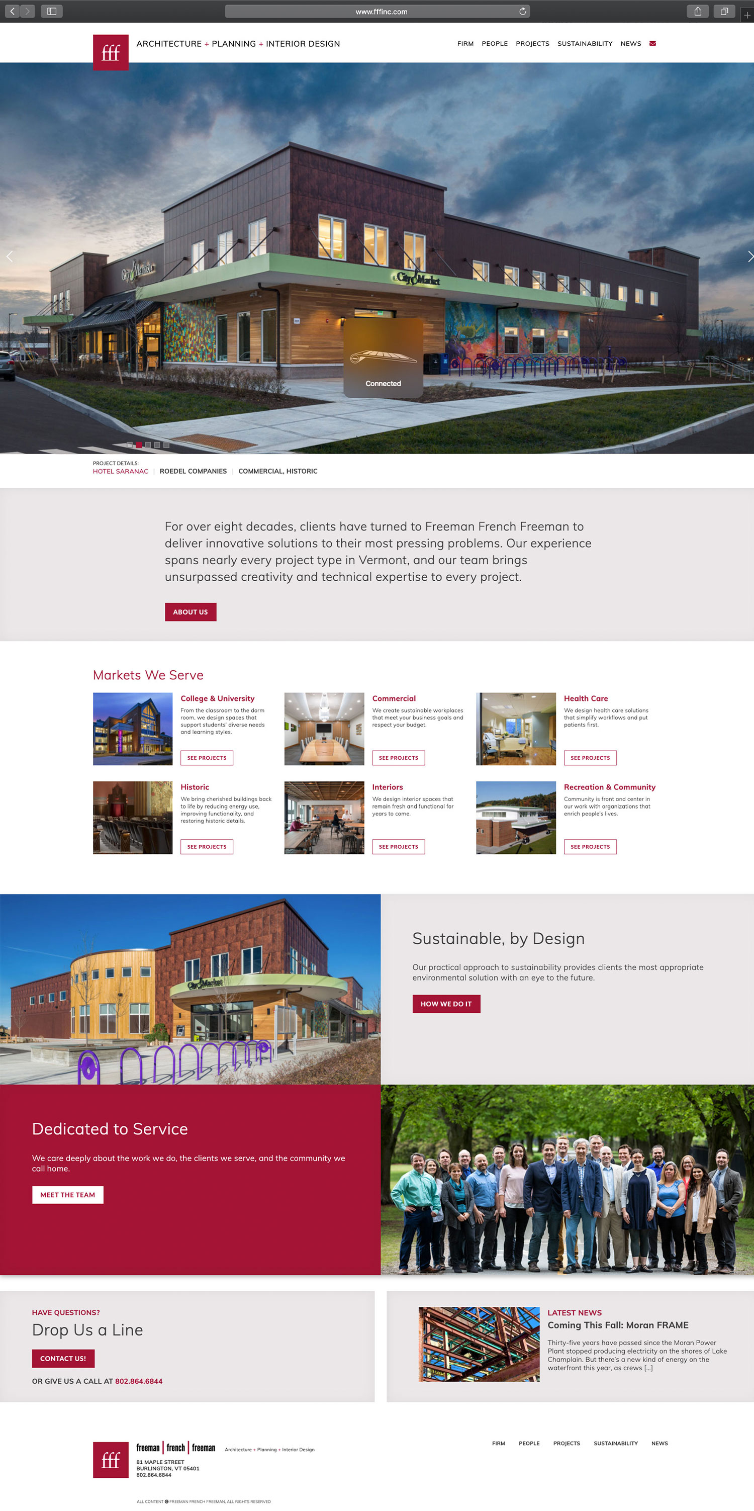 Website design and website development for FFF - homepage view.