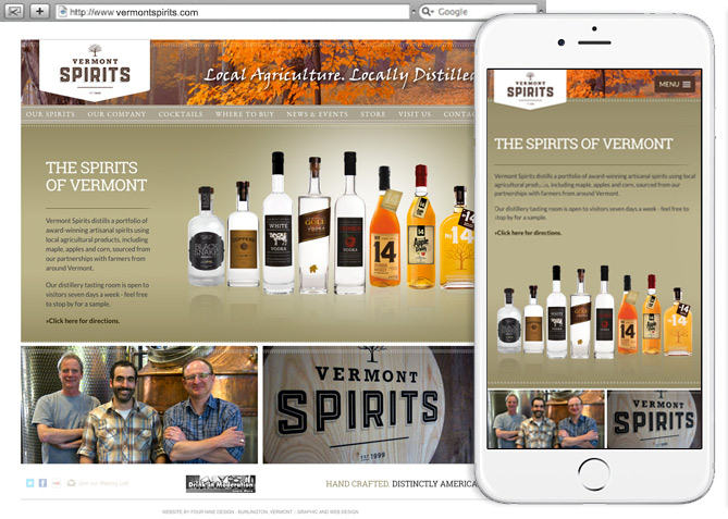 Responsive Website Design, Responsive Website Development for Vermont Spirits