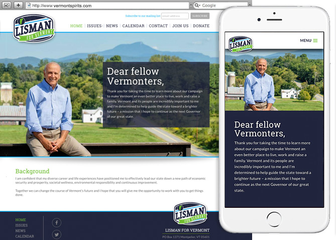Responsive Website Design, Responsive Website Development for Lisman for Vermont