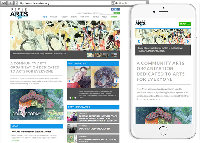 Responsive Website Design, Responsive Website Development for River Arts