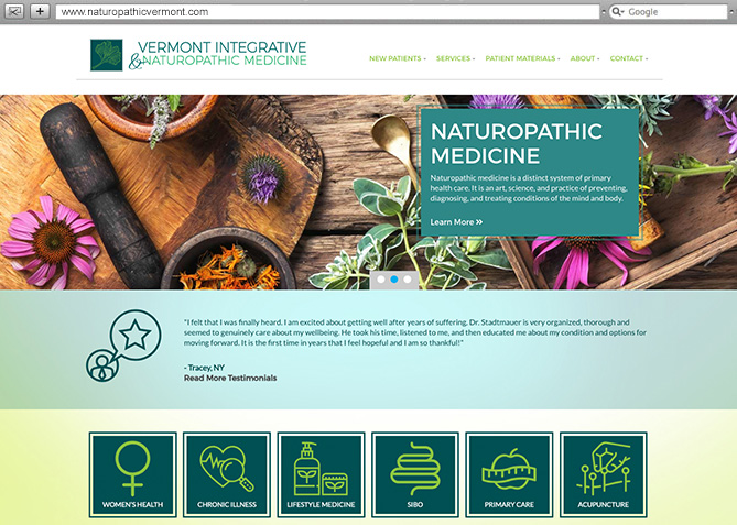 Responsive Website Design, Responsive Website Development for Vermont Integrative and Naturopathic Medicine
